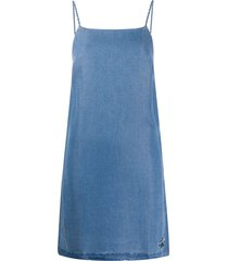 calvin klein jeans mid wash denim dress - blue