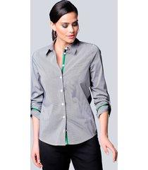 blouse alba moda zwart::wit::groen