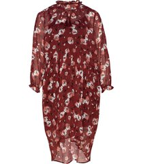 eabby, s/s, 3/4 dress knälång klänning röd zizzi