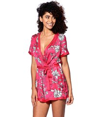 red short jumpsuit with white flower print