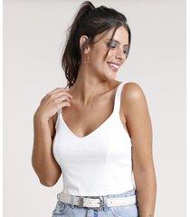 top cropped feminino canelado alça fina decote v off white