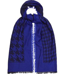 reiss millie - lambswool dogtooth checked scarf in cobalt, womens