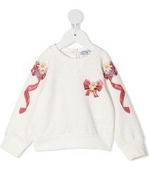 monnalisa embroidered floral bow sweatshirt - white
