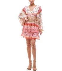 q & a printed tiered-skirt dress