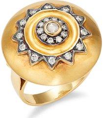 14k yellow gold & diamond oversized ring