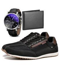 sapatênis urbano com carteira e relógio dubuy 1100db preto