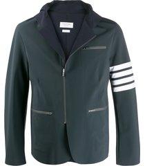 thom browne compression hooded 4-bar jacket - blue
