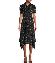 karl lagerfeld paris women's eiffel tower-print shirtdress - black combo - size 4