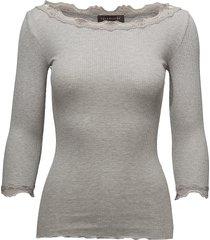 silk t-shirt boat neck regular w/vi t-shirts & tops long-sleeved grijs rosemunde