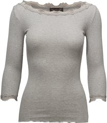 silk t-shirt boat neck regular w/vi t-shirts & tops long-sleeved grijs rosemunde