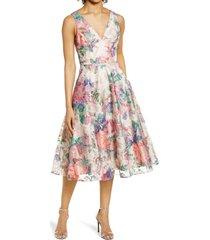 women's eliza j floral embroidered fit & flare dress, size 14 - beige
