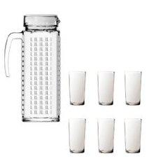 kit 1 jarra vidro ladrilhos branca 1,2l e 6 copos vidro long sture móveis