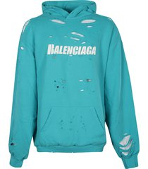 balenciaga destroyed oversize logo hoodie