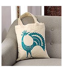 cotton shoulder bag, 'peacock pose in teal' (india)