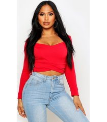 long sleeve cut out crop top, red