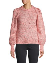 puffed-sleeve cotton-blend sweater
