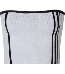 top john john veneza tricot listrado off white feminino (off white, gg)