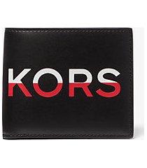 mk portafoglio a libro greyson con scritta kors - blk/rc rd - michael kors
