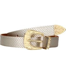 cinturón cuero moda mujer plata pollini