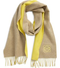 loewe anagram double face wool & cashmere scarf in yellow/beige at nordstrom