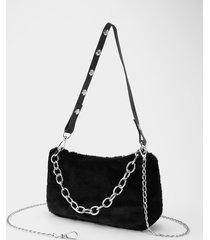 bolso de hombro de piel sintética con diseño de cadena