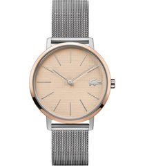 lacoste women's moon stainless steel mesh bracelet watch 35mm
