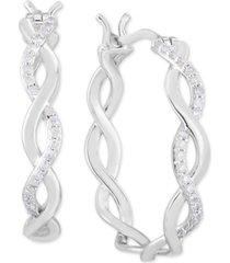 diamond braided hoop earrings (1/4 ct. t.w.) in sterling silver
