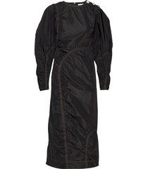 recycled polyester maxi dress galajurk zwart ganni
