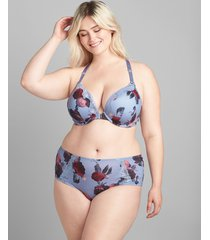 lane bryant women's printed front-close boost plunge bra 44b cumberland rose