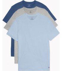 tommy hilfiger men's organic cotton classics crewneck undershirt 3pk forever blue/dark denim/grey heather - xxl