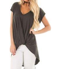 zanzea mujeres más pullover tee tapa de la camiseta de la túnica de la blusa beach party -gris