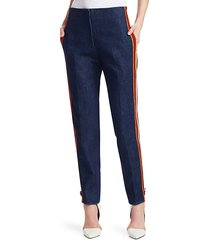 side stripe zip jeans