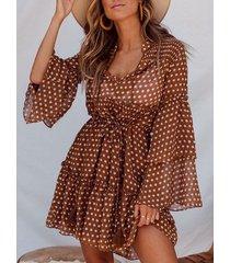 polka dot marrón de doble capa de amarre diseño bell sleeves vestido