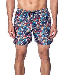 camo-print swim shorts