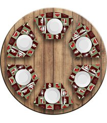 jogo americano love decor para mesa redonda wevans botas e pinheiros kit com 6 pçs