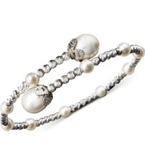 pearl bracelet, sterling silver cultured freshwater pearl (4-1/2mm and 8-1/2mm) sparkle bead cuff bracelet