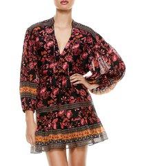 alice + olivia women's sedona mandarin tunic dress - fall into you multi - size 8