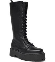 biadeb laced up long boot höga stövlar svart bianco