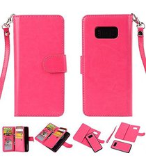 galaxy s8 plus wallet,xyx [rose 9 card slot][detachable wallet folio][2in1 desig