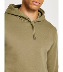 river island mens khaki ri slim fit hoodie
