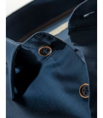 john miller overhemd donkerblauw fine oxford short widespread borstzakje ml7 tailored fit