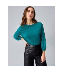 amaro feminino suéter manga longa tricot, verde