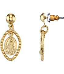 2028 14k gold dipped mother mary medallion post drop earrings