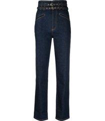philosophy di lorenzo serafini belted straight-leg jeans - blue