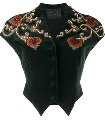 a.n.g.e.l.o. vintage cult 1990s velvet effect bead-embroidered top -