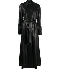 nanushka long-line shirt dress - black