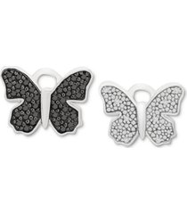 black & white diamond butterfly rotating earring charms (1/10 ct. t.w.) in sterling silver