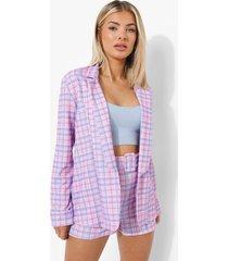 getailleerde pastel geruite blazer, pink