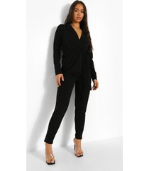 blazer met laag decolleté en ceintuur en skinny fit broek, black