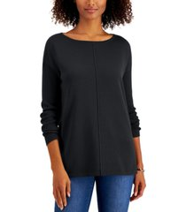 style & co petite seam-front sweater, created for macy's